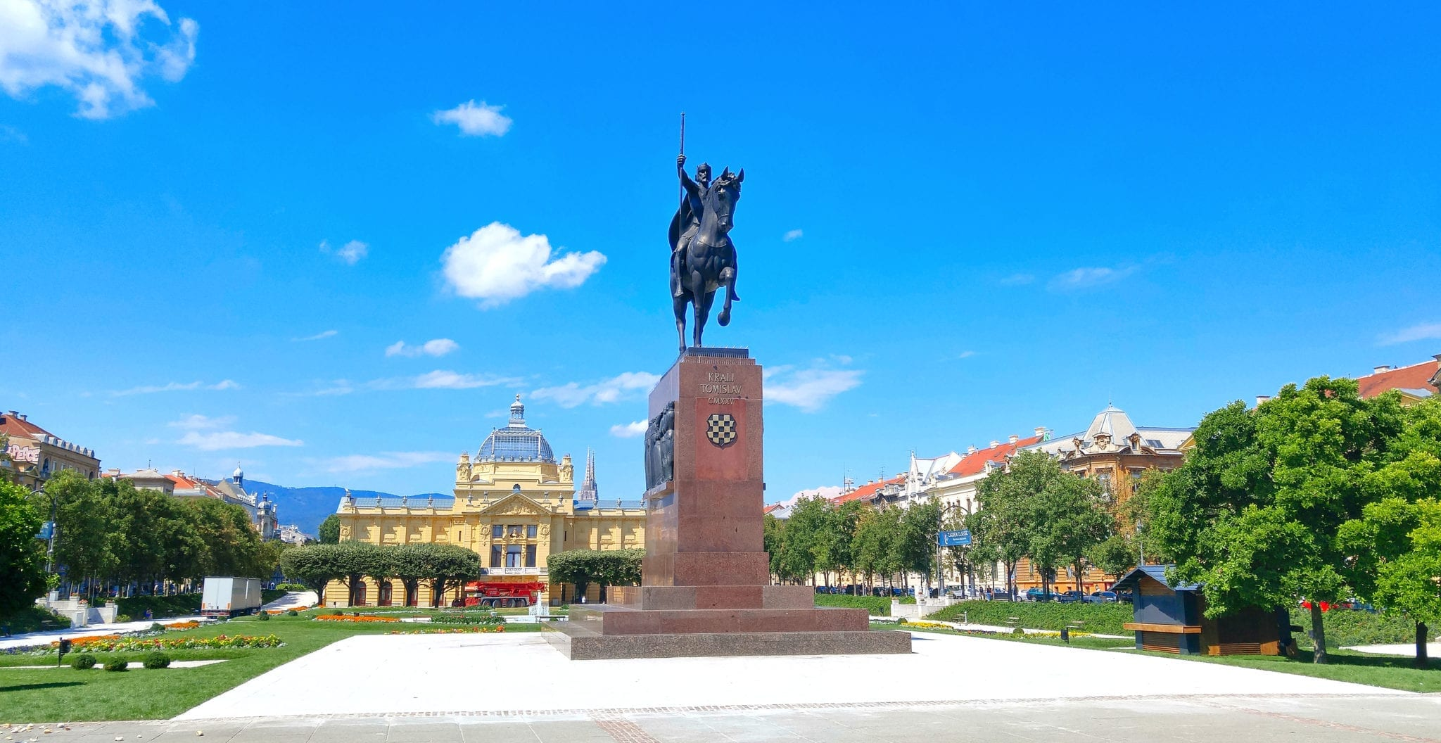 King Tomislav statue in King Tomislav square in Zagreb, Croatia